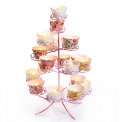 Set of 24 cupcake molds made in paper with flowers for LED candles