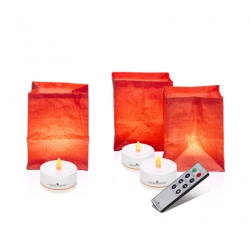 3 handcrafted paper tea light holders - red