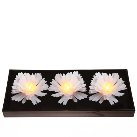 3 grandes pivoines lumineuses blanches - Ø13CM