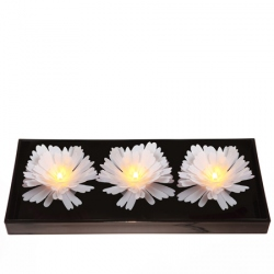 3 luminous LED flowers - white peonies