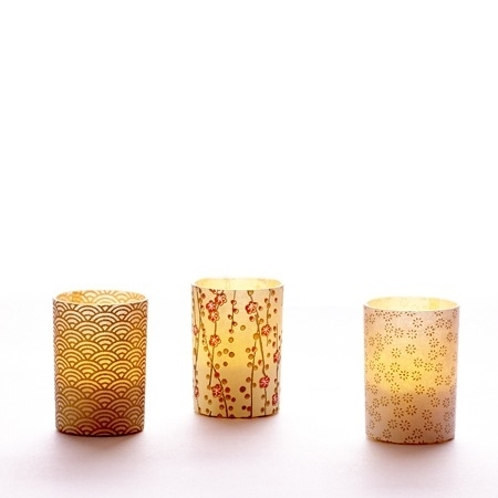 Small LED candle holder Small Gold Flowers - H 6.7 cm