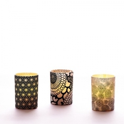 Small LED candle holder Large Black Flowers - H 6.7 cm