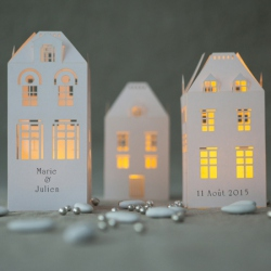 3 Candle holders Paper house H 13.5cm - with 3 LED candles