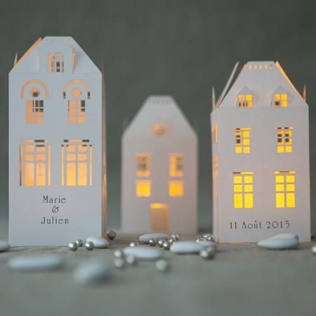3 white house candle holders without LED tealights