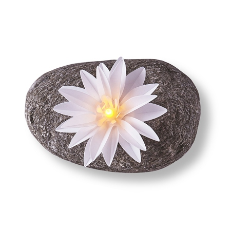 3 luminous LED flowers - Large white lotus