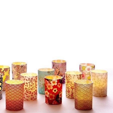 3 photophores led papier washi - H6.7CM