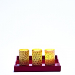 Set of 3 candle holders - Japanese paper #4 - H 6,7 cm