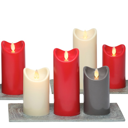 3 Bougies led rouge - H15CM