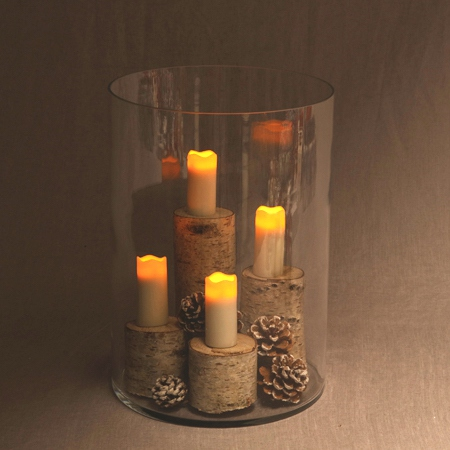 4 LED wax pillar candles with timer