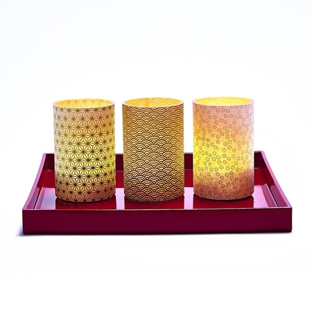 LED Gold Small Waves Candle Holder - H11.5cm