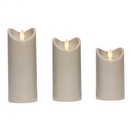 LED candle with moving flame - Light Grey - H15CM