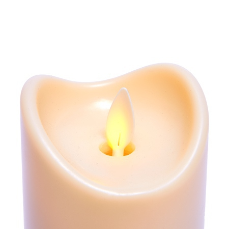 3 LED candles with moving flame - Ivory - Ø 9 cm - H 14.5 - 18 -  22.5 CM