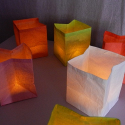 3 handcrafted green paper tea light holders