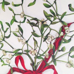 Large LED Candle Holder Mistletoe - H11.5cm
