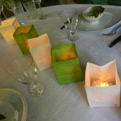 3 handcrafted paper tea light holders - green