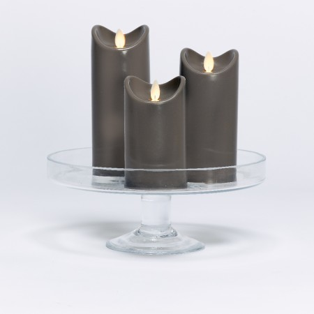 LED candle with moving flame - Anthracite Grey - H17.5CM