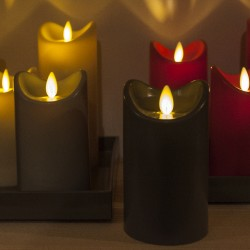 LED candle with moving flame - Light Grey - H17.5CM