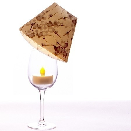 3 lampshades for wine glass for led candles - gold chrystals