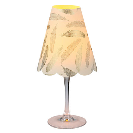 3 lampshades for wine glass - gold and silver feathers
