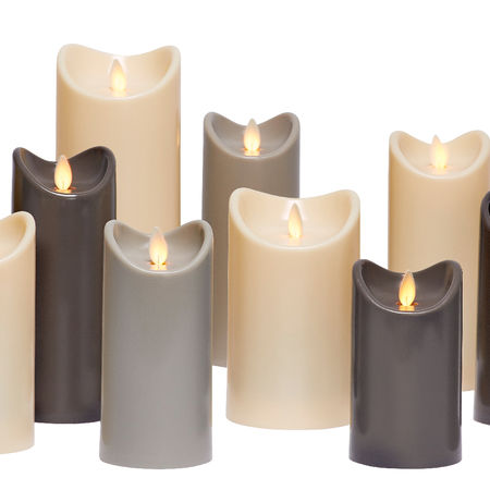3 LED candles with moving flame - Light grey - Ø 7 cm - H 12,5 - 15 - 17,5 cm