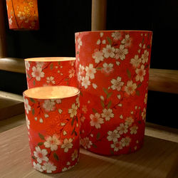 Large LED cherry blossom candle holder - H11.5cm