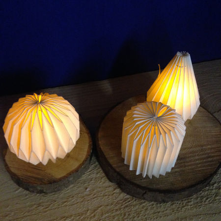 Paper LED lantern with candle - Origami Rondo - H 8cm