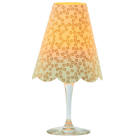 3 lampshades for wine glass - small gold flowers