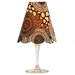 3 lampshades for wine glass - large black flowers