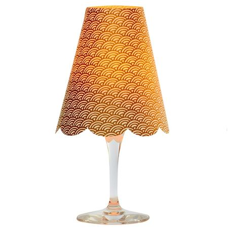 3 lampshades for wine glass - gold waves