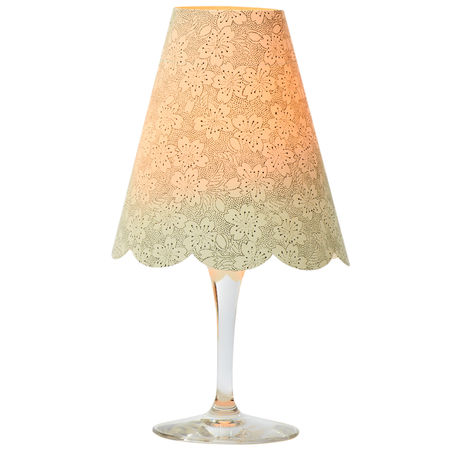3 lamp shades for wine glasses - Gold and grey flowers