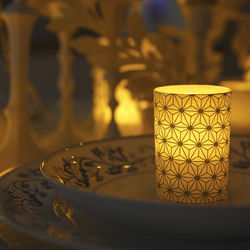 Small LED candle holder Silver Crystals - H 6.7 cm