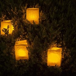 An ivory paper lantern with its LED candle for Christmas - Christmas Tree