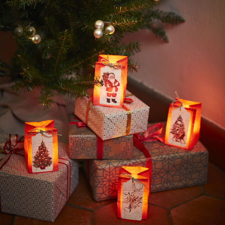 Red paper lantern with LED candle – Christmas Father