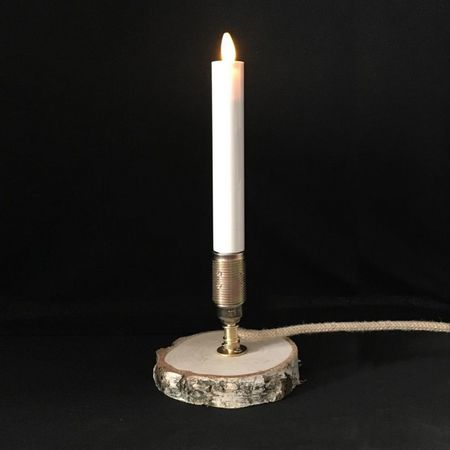 Design lamp with a LED moving flame candle