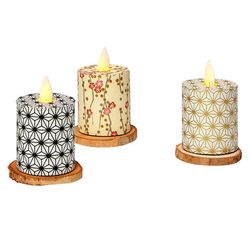 Led candle with moving flame - paper vertical gold waves - H 5,2 cm