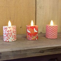 Led candle with moving flame - paper red waves - H 5,2 cm