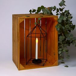 Lantern in black metal without glass  for a design or  minimalist Decoration