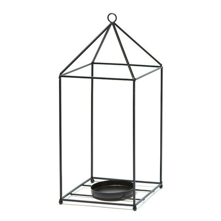 Lantern in metal with a large led candle holder - black large flowers