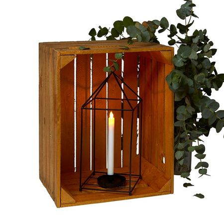 Lantern in metal and a glass candle holder