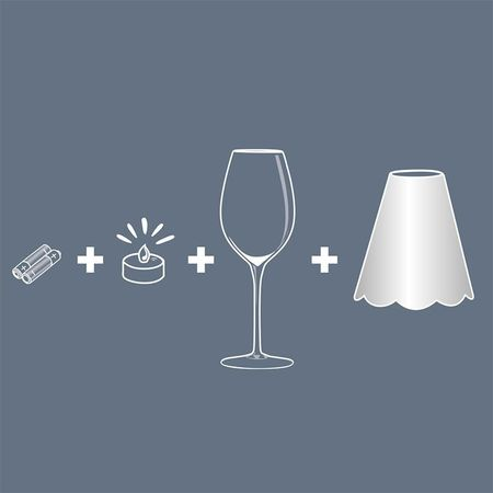 A LED Lamp made with a wineglass and a lamp shade - Light Grey for Gift and House Decoration
