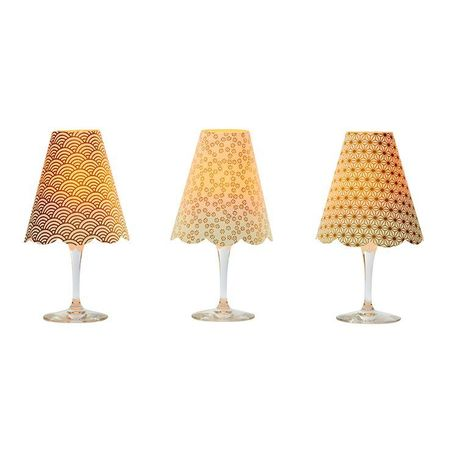 A LED Lamp made with a wineglass and a lamp shade - Gold Flowers  for Gift and House Decoration