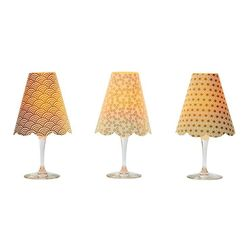 A LED Lamp made with a wineglass and a lamp shade - Gold waves  for Gift and House Decoration