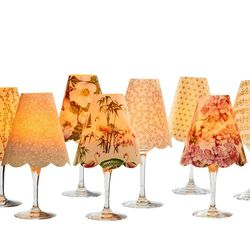 A LED Lamp made with a wineglass and a lamp shade - peach flowers  for Gift and House Decoration