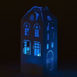 Photophore maison + LED multicolore - H 16,5CM