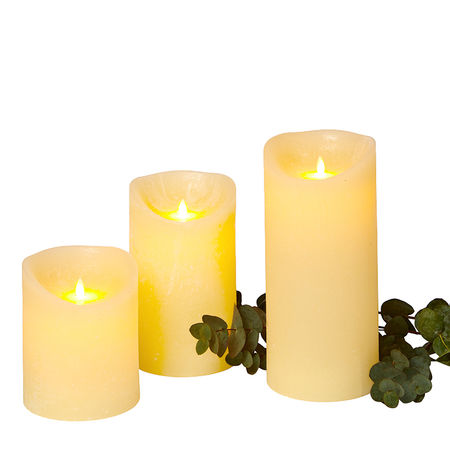 3 wax LED Moving flame candles - Ø15cm; H18.5cm; 25cm; 32.5cm
