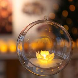 A led votive candle hung in a bubble - Cherry Blossom