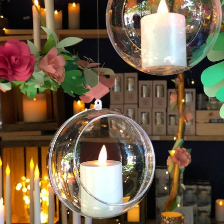 A led votive candle hung in a bubble - Japanese fish