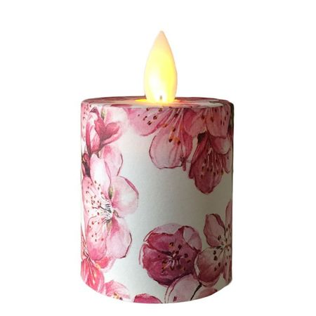 A led votive candle hung in a bubble - Pink flowers