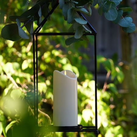 Outdoor LED Ivory Resin Candle - H 12.5cm