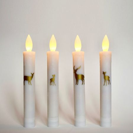 Wax LED candle - 4 Gold Deers - H 18,5 cm
